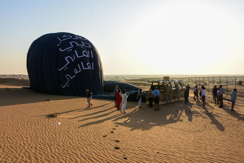 Hot Air Balloon Dubai Desert landing