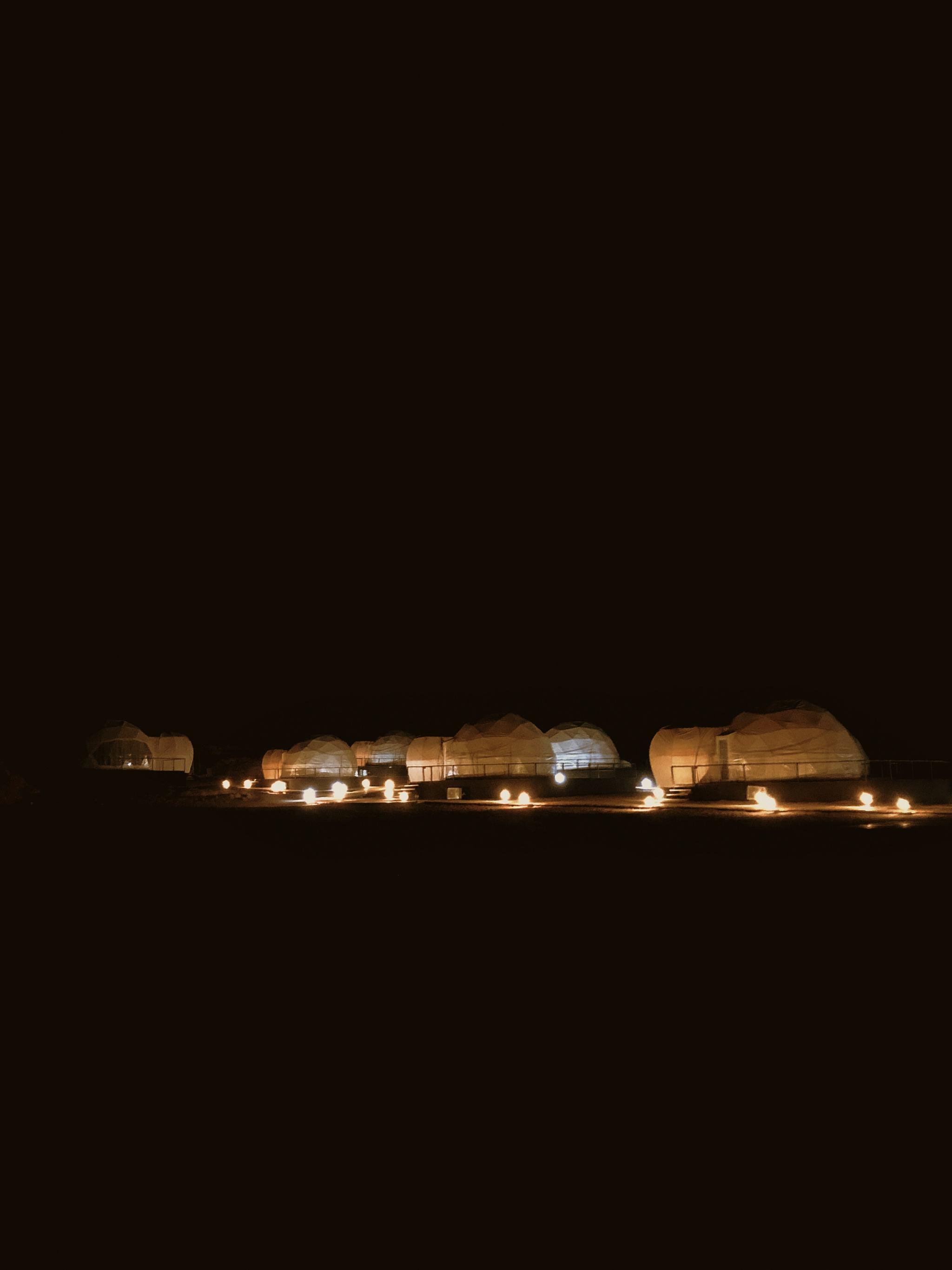 Wadi Rum Luxury Desert Camp in Jordan Mazayen Rum Camp Domes by Night